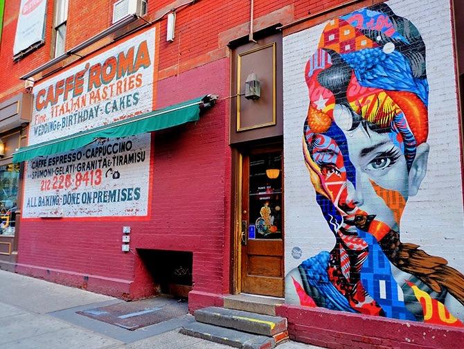 Little Italy in New York - Muurschildering