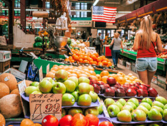 Italiaanse markt in de Bronx in New York