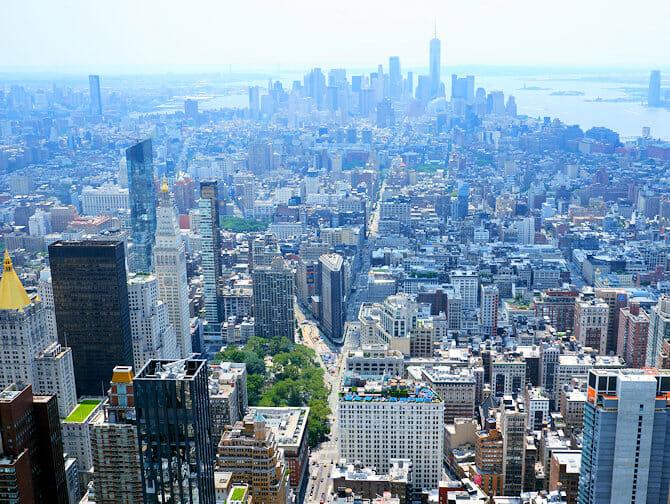 Empire State Building Tickets - Uitzicht Downtown Manhattan