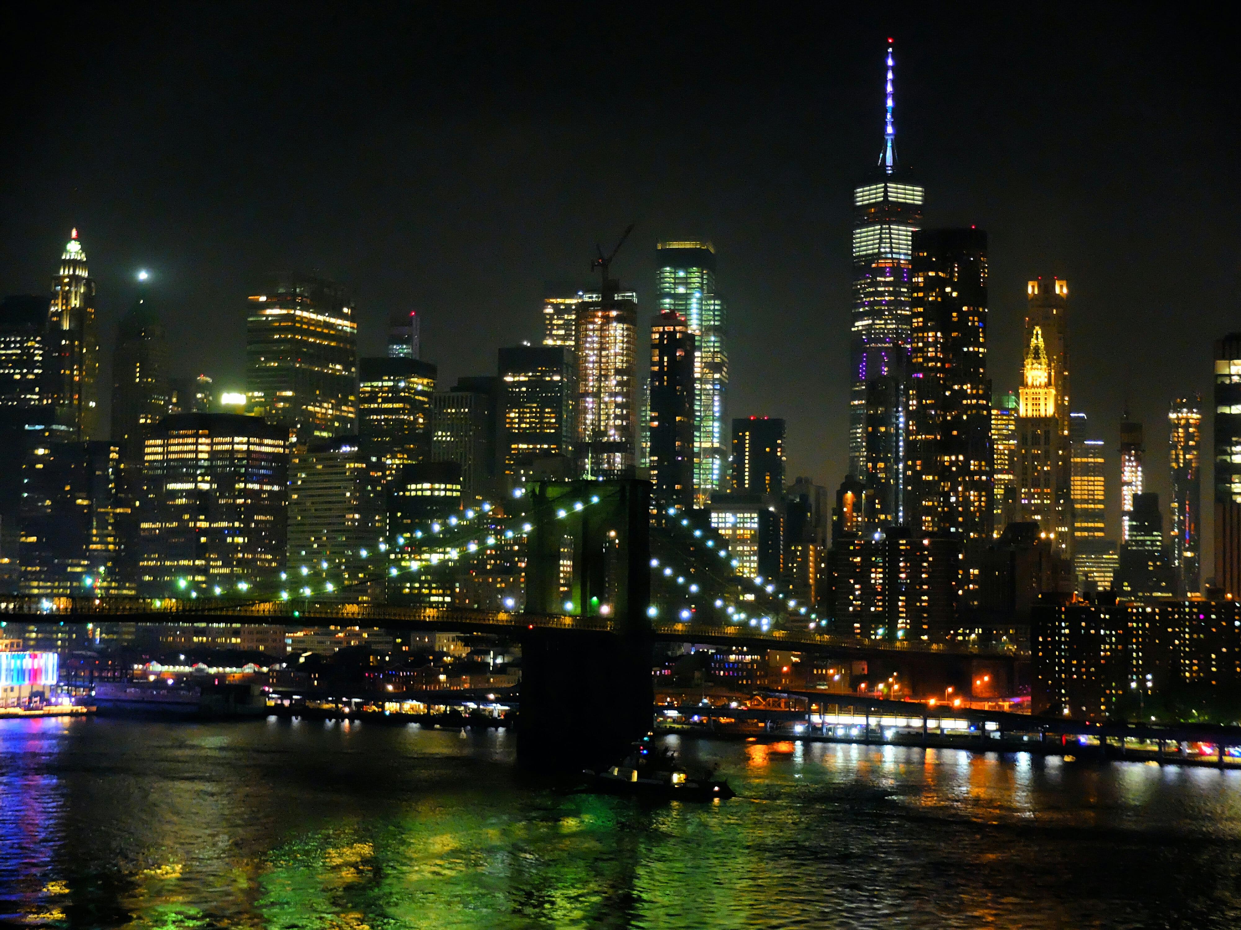 New York Skyline at Night High Quality Wallpaper