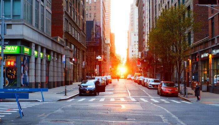Manhattanhenge - Straat Zicht