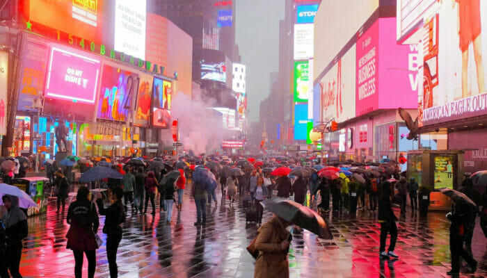 Regen in New York - Times Square
