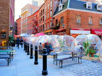 New York Vaccineert Toeristen - Stone Street in New York
