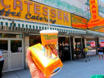 Denos Wonder Wheel Amusement Park in Coney Island Nathans Famous Hot Dog